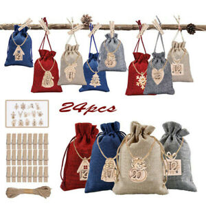Christmas Advent Calendar Bags 24 Days Embellishments Wooden Listing Labe Decors