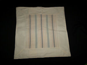 Ralph Lauren Villandry II Multi Stripe 18X18 Throw Pillow Cover Cream Blue Pink