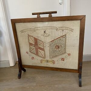 Antique Embroidered Firescreen Silk Embroidery Boer War Royal Warwickshire