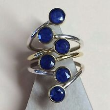 Natural 6ct Blue Sapphire 925 Solid Sterling Silver 2-Tone Victorian Ring  7.75