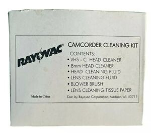 RAYOVAC Camcorder Cleaning Kit VHS-C & 8mm Head Cleaning Tapes, Brush, & Fluids