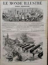 LE MONDE ILLUSTRE 1870 N 711 PARIS: LES CANONS DE LA BATTERIE DE SAINT-OUEN