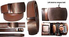 "Women's Belt. Auto Lock Genuine Leather. Fashionable Brown belt. Up to 43"""