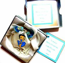 Betty Boop Aqua Blue Charm Bracelet +Personalised Gift Box - Birthday Christmas