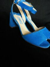 BNIB NEW PRADA DONNA CALZATURE LUXE SUEDE HOLIDAY BLUE SANDALS 37 4 BOX BAG £685