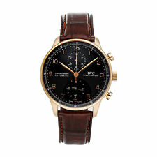 IWC Portuguese Chronograph Auto Rose Gold Mens Strap Watch IW3714-15