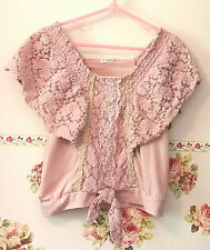 Axes Femme Japan Dusty Pink Floral Lace Gold Trim Knit Top Shirt Women Ladies SM