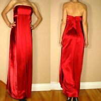 4297e0b3 $480 Kay Unger New York Silk Velvet Red Corset Maxi Dress Gown Scarf 6 Prom