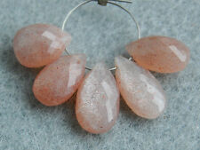 Strawberry Pink Moonstone Pear Briolette Semi Precious Gemstone Beads 001