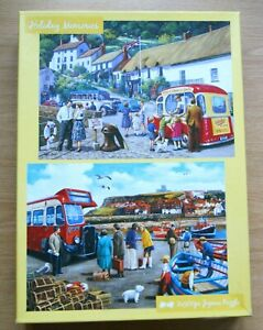 Holiday Memories 2x 500 piece jigsaw puzzle seaside harbour vintage bus scene