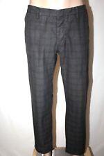 MURANO Men's 36 x 30 Gray Plaid Flat Front Button Fly Modern Fit Pants EUC