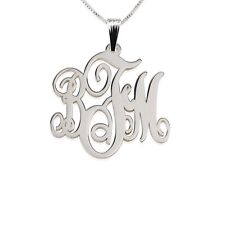 Monogram Necklace Medium 1″ Sterling Silver Initial Letter Pendant - oNecklace ®