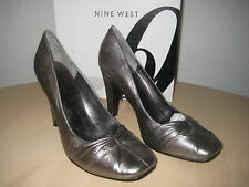 Nine West New Womens Shamira Pewter Leather Heels Size 6 M Shoes Display Model