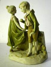 ROYAL DUX STUNNING VINTAGE  FIGURINE OF BOY AND GIRL DANCING PLUS A VASE ON BACK