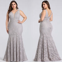 Ever-pretty Lace Gray Evening Dresses Plus Size Cocktail Party Prom Gowns 08838