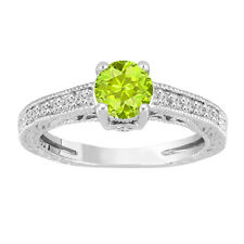1.20 Carat Peridot Engagement Ring, Wedding Ring 14K White Gold Handmade