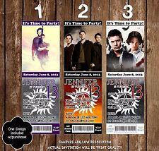 Supernatural - Sam, Dean, Castiel - Birthday Ticket Invitation - 20 Printed W/en