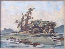 Antique Landscape Painting Signed Kenyon Rocky Coastal Island NW? Impasto Moody