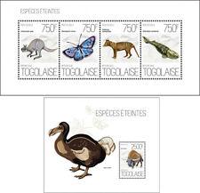Extinct Animals Birds Vögel Butterflies Insects Fishes Fauna Togo MNH stamp set
