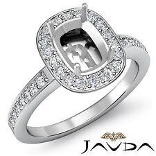 Diamond Engagement Cushion Shape Semi Mount Ring 18k White Gold Halo Pave 1Ct
