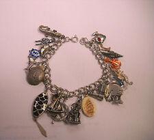 "Vintage Sterling Silver      Charms & Charm Bracelet journey through ocean 7 """