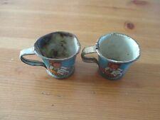 2 éléments de dînette ancienne (tasses ) fer blanc lithographié enfants jeux