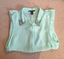Sheer Mint Green Sleeveless Blouse Shirt With Sparkle Gem Collar - Size S