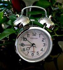 JUMBO Sterling & Noble Chrome Alarm Clock  Double Twin Bell Silver Color- Works