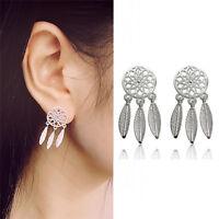 1Pair Bohemia Women Dream Catcher Feather Ear Stud Drop Earrings Jewelry apa fi