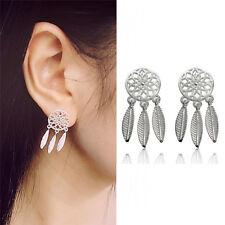 1pair Bohemia Women Dream Catcher Feather Ear Stud Drop Earrings Jewelry ATAU