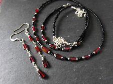 GOTH NECKLACE BRACELET EARRINGS SET GARNET gemstone glass beaded