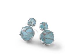 New IPPOLITA 925 Rock Candy 2-stone EARRINGS Clear Quartz Bronze Turquoise $995