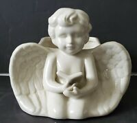 Vintage Cherub Angel Planter White Ivory Kneeling with Bible Book Ceramic