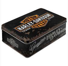 Flat Retro Storage Tin Metal Box HARLEY DAVIDSON GENUINE Motorcycle Licensed 3L