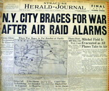 Dec 9 1941 WW II newspaper NEW YORK CITY UNDER AIR ATTACK by enemy airplanes !!