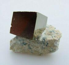 Pyrite Cube in Matrix. Mineral Specimen from Navajun, Spain. 4.5 x 3.5 cm.