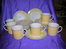 Villeroy and Boch Twist Colour Tea Set 6 x Trios Cups Saucers Plate Yellow & Grn