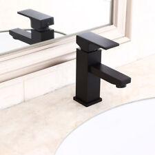 Modern Brass Bathroom Sink Faucet Single Hole Basin Dree Faucet Solid Black Tap