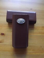 Brown Leather Cedar Lined 3 Cigar Case with Silver Plated Golf Club