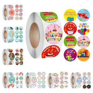 Happy Birthday Toys Gifts Stickers Animals Flowers Thank You Round Seal Labels