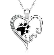 S925 Sterling Silver Puppy Dog Cat Pet Paw Print Heart Love Pendant Box Chain 18