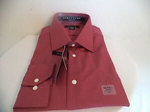 Men's Red Structure Fitted Dress Shirt. 16 - 16 1/2. 60% Cotton/ 40% Polyester