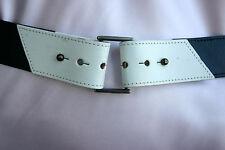 """NWOT Darling Vintage JAEGER ENGLAND Navy and Off-White Leather Belt 30"""""""