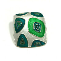 Vintage 1960's Modernist Enamel Brooch Funky Green Blue Square Gold PL JJ3K