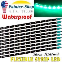 "10X Green 12"" Car Motor Flexible LED Strip Light 5050 High Power Waterproof 12V"