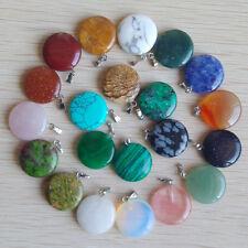 Fashion assorted natural stone round Shape charms pendants 50pcs/lot wholesale
