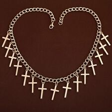 Fashion Jewelry Elegant Hollow 9k Yellow Gold Filled Crosses Pendant Necklace