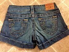 Womens True Religion Dark Wash JESS Cuffed Shorts Size 25