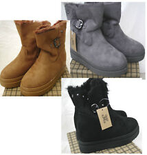 Fur Lined Comfortable Suede Look Winter Warm  Flat  Ankle Boots