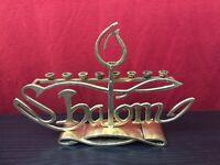 vintage brass menorah spells shalom Israel Judaica Judaism